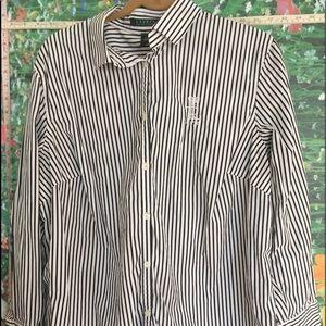 LAUREN RALPH LAUREN White Black Stripe shirt